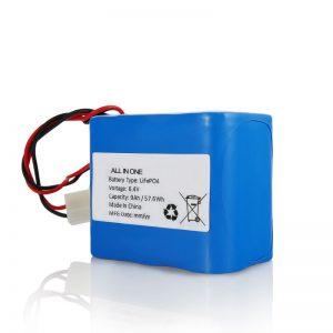 6.4V 12Ah LiFePO4 Recharge Lithium 26650 32650 Battery Pack nga adunay Connector alang sa Solar Light
